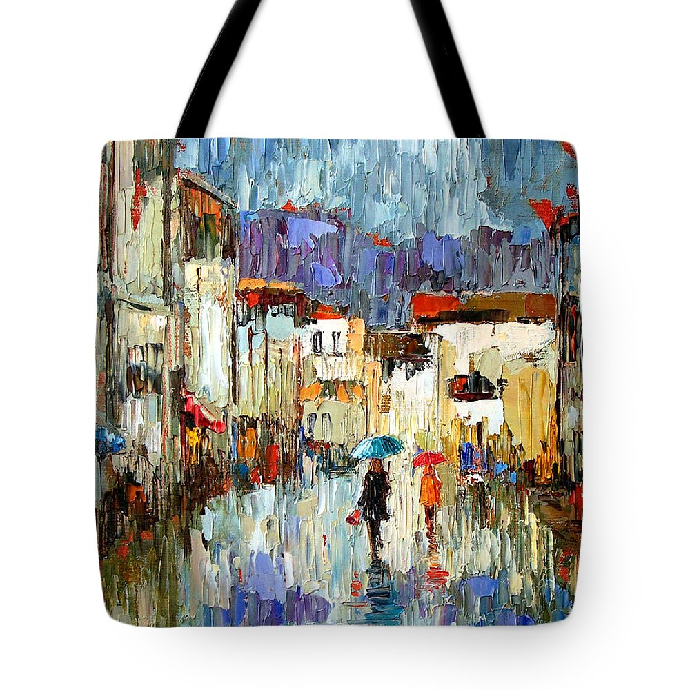 Landscape Tote Bag featuring the painting Tourists by Debra Hurd