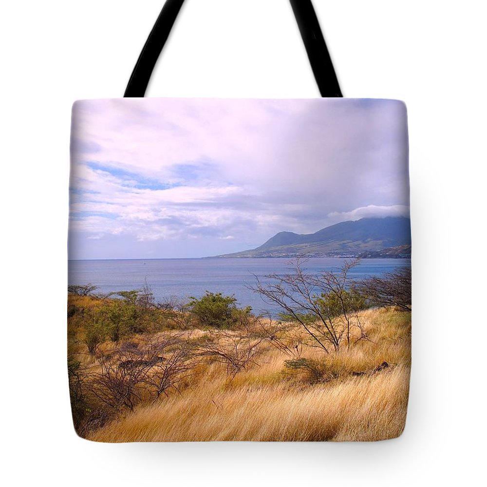St Kitts Tote Bag featuring the photograph Towards Basseterre by Ian MacDonald