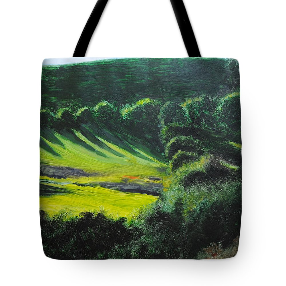 Wales Tote Bag featuring the painting Towards Corwen by Harry Robertson