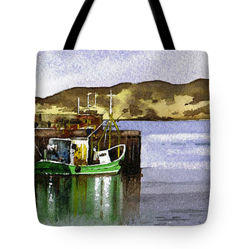 Campbeltown Tote Bag featuring the painting Towards Davaar From Campbeltown by Paul Dene Marlor