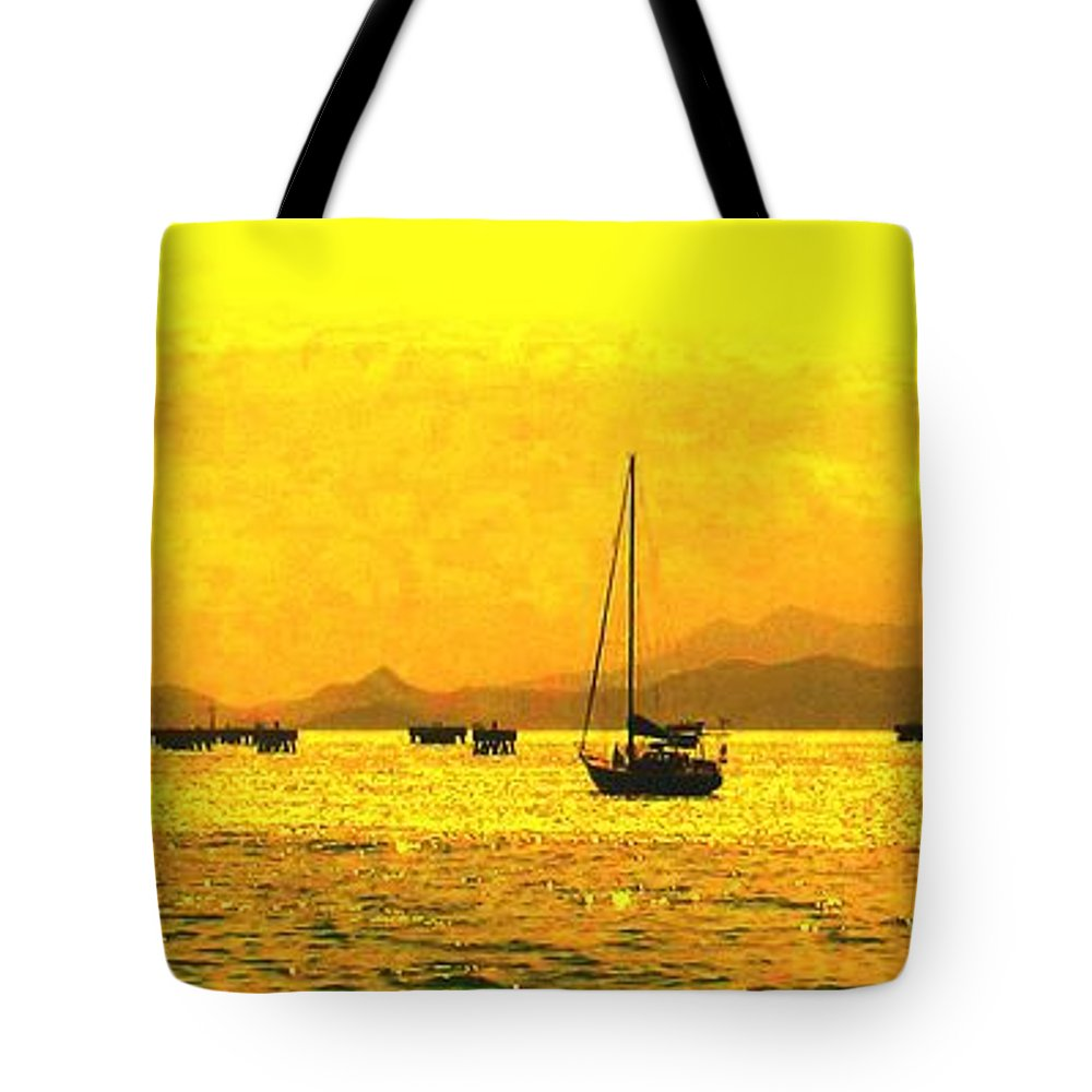 Basseterre Tote Bag featuring the photograph Towards Nevis by Ian MacDonald