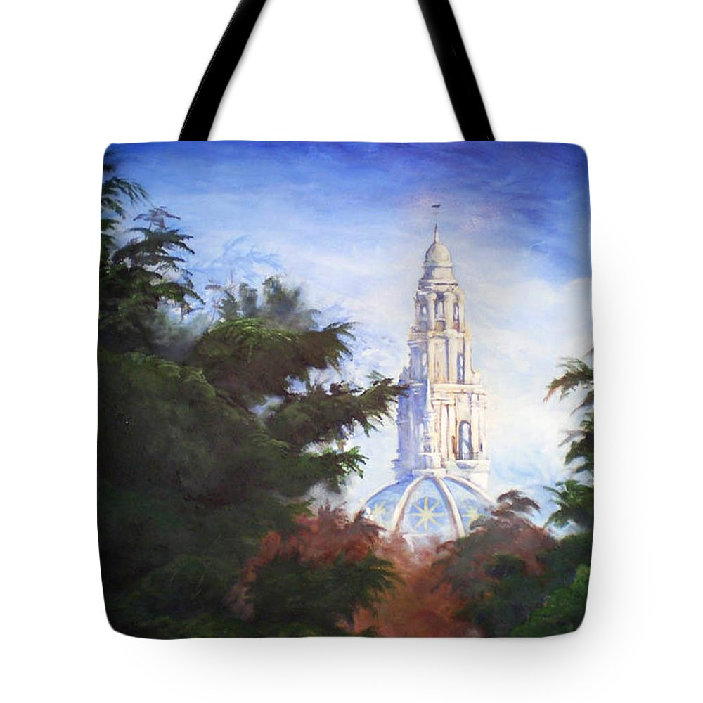 Balboa Park Tote Bag featuring the painting Tower Over The Grove II by Duke Windsor
