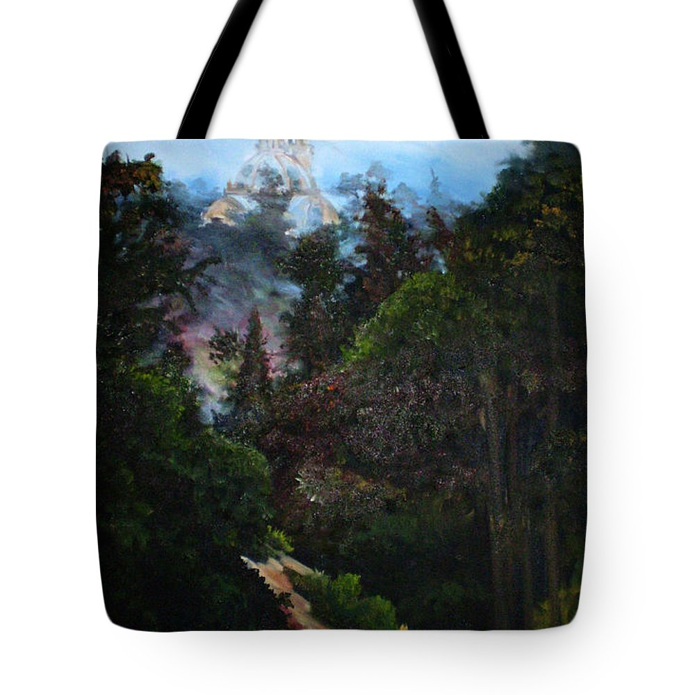 Balboa Park Tote Bag featuring the painting Tower West Of 163 by Duke Windsor