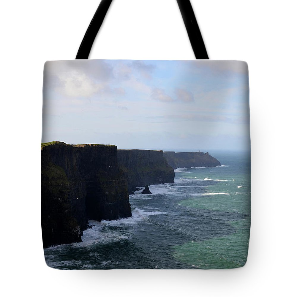 Cliffs-of-moher Tote Bag featuring the photograph Towering Sea Cliffs In Ireland's County Clare by DejaVu Designs