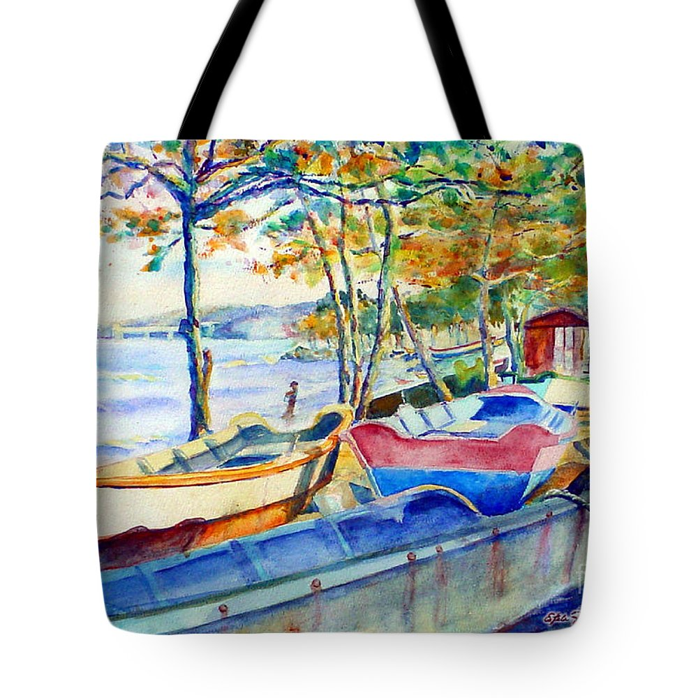Watercolor Paintings Tote Bag featuring the painting Town Fishery by Estela Robles