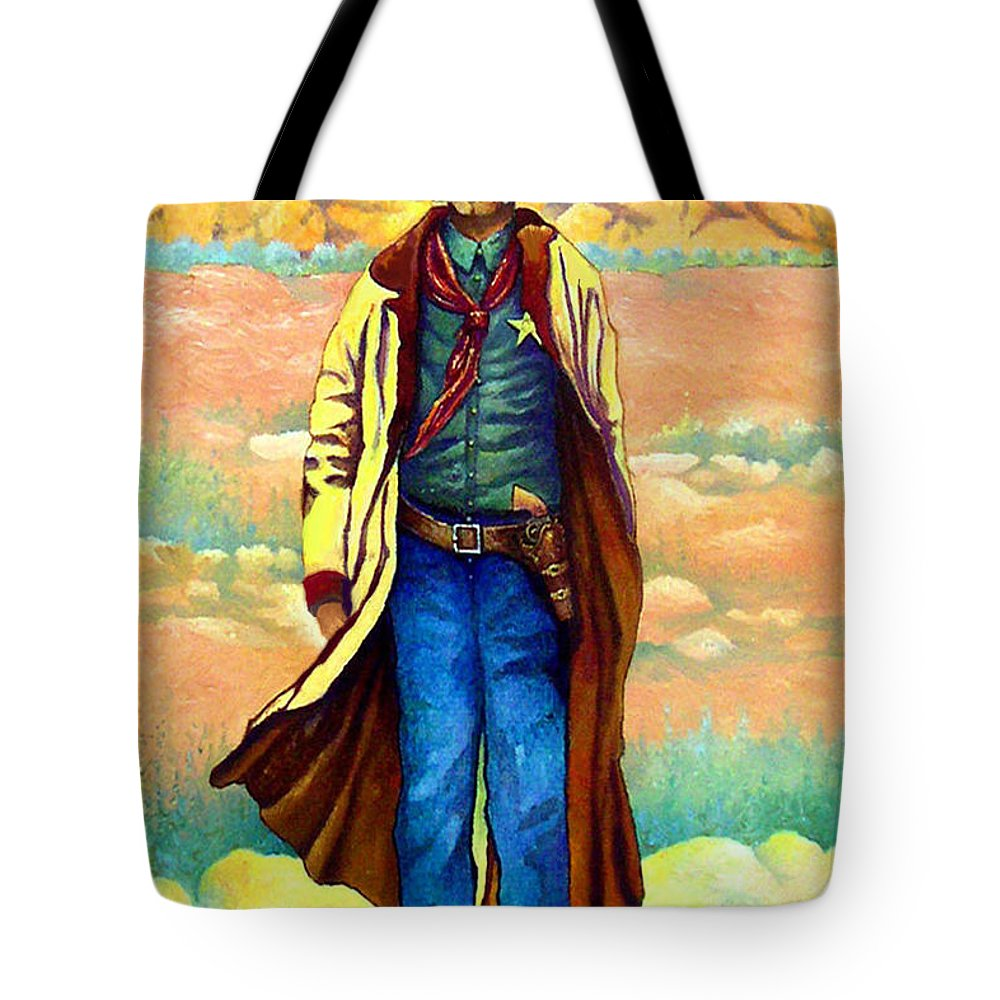 Western Art Lawman. Texas Sheriff Tote Bag featuring the painting Town Marshall by Donn Kay