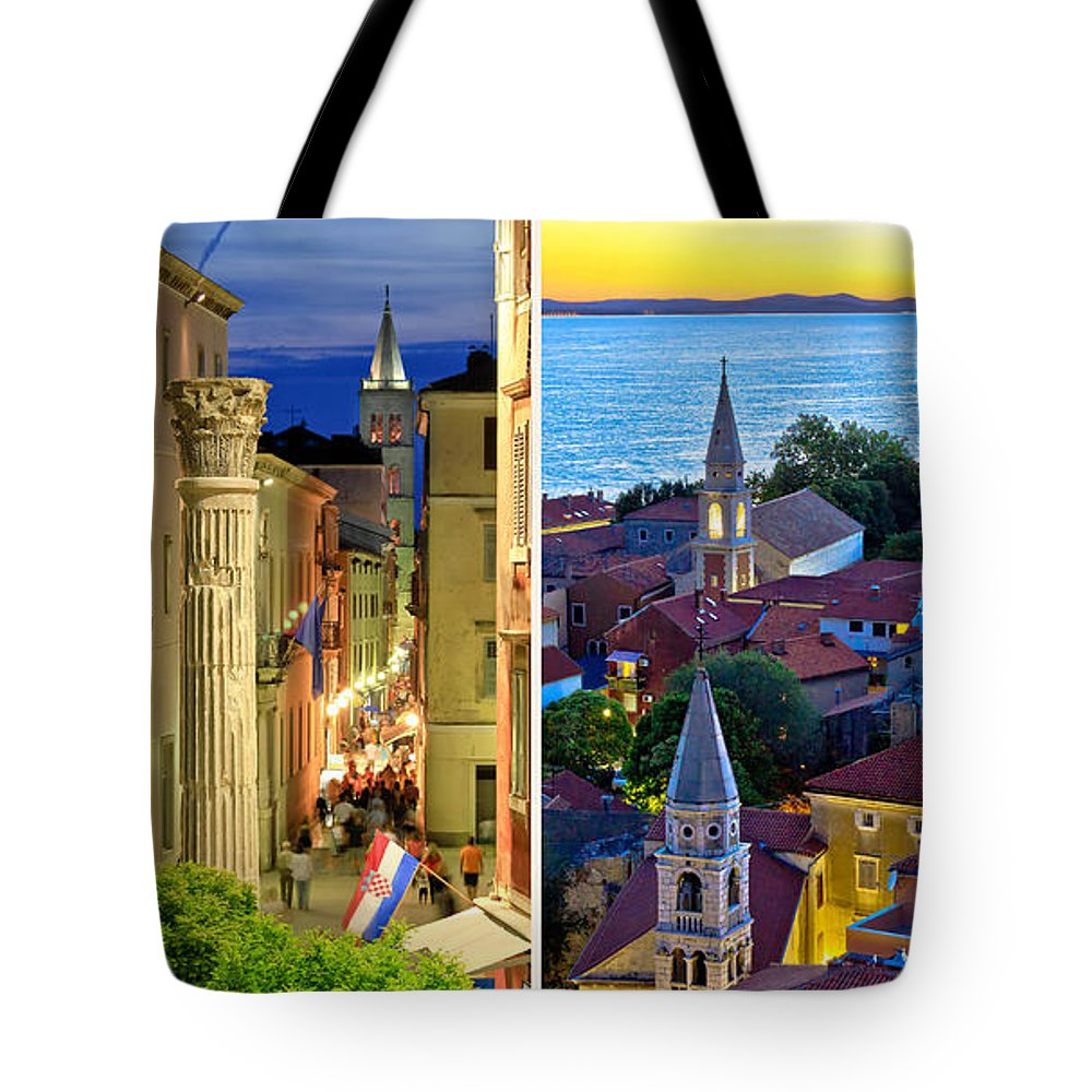 Travel Tote Bag featuring the photograph Town Of Zadar Evening And Sunset Travel Collage by Brch Photography