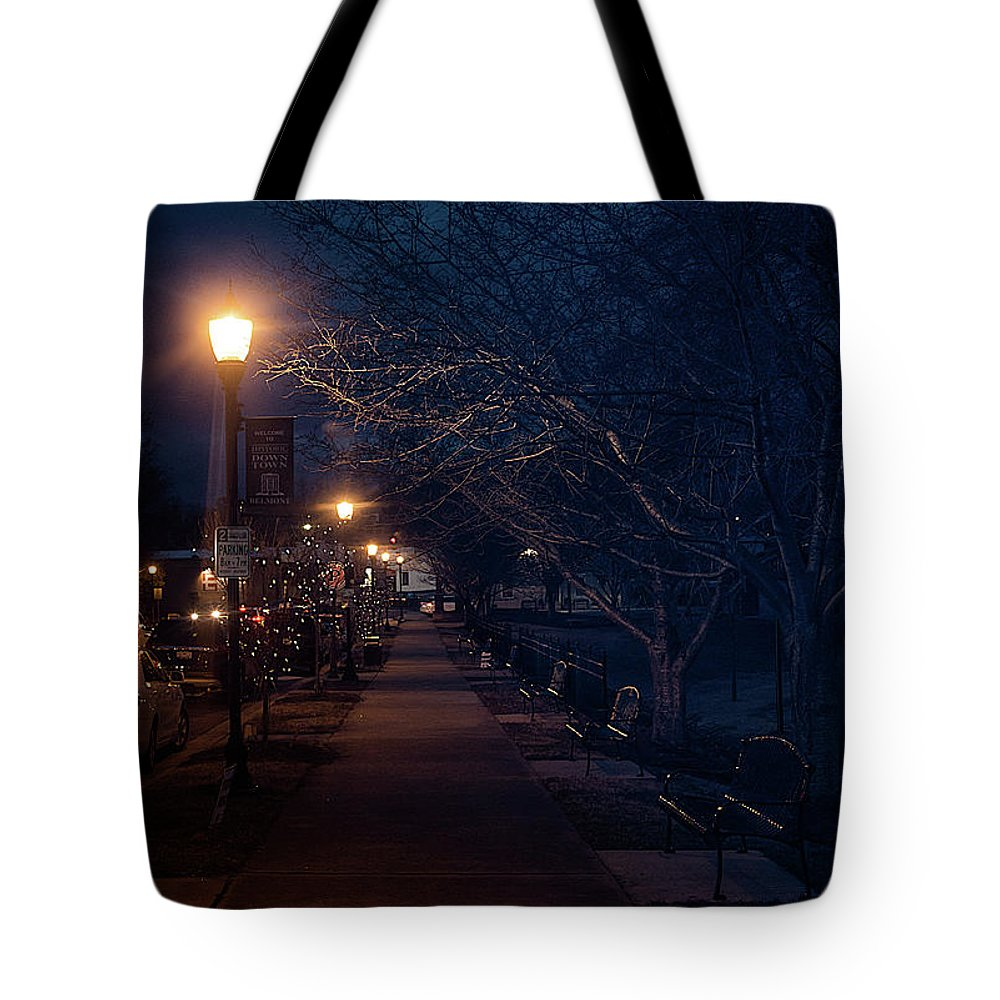 Street Tote Bag featuring the photograph Town Street A Night by Ant Pruitt