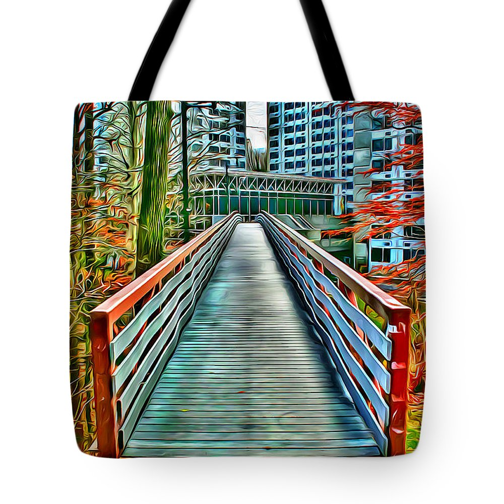 Towson University Tote Bag featuring the digital art Towson University Walkway by Stephen Younts