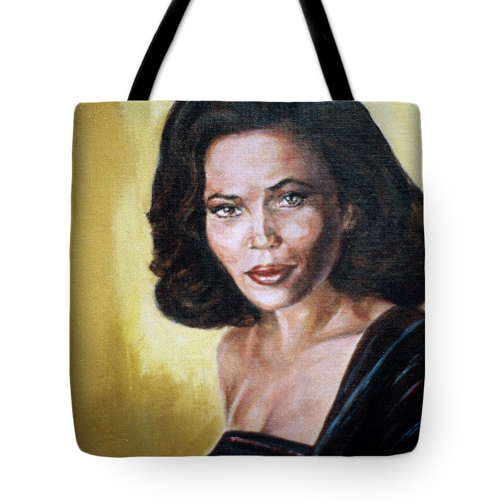 Tracey Ross Tote Bag featuring the painting Tracey Ross by Bryan Bustard