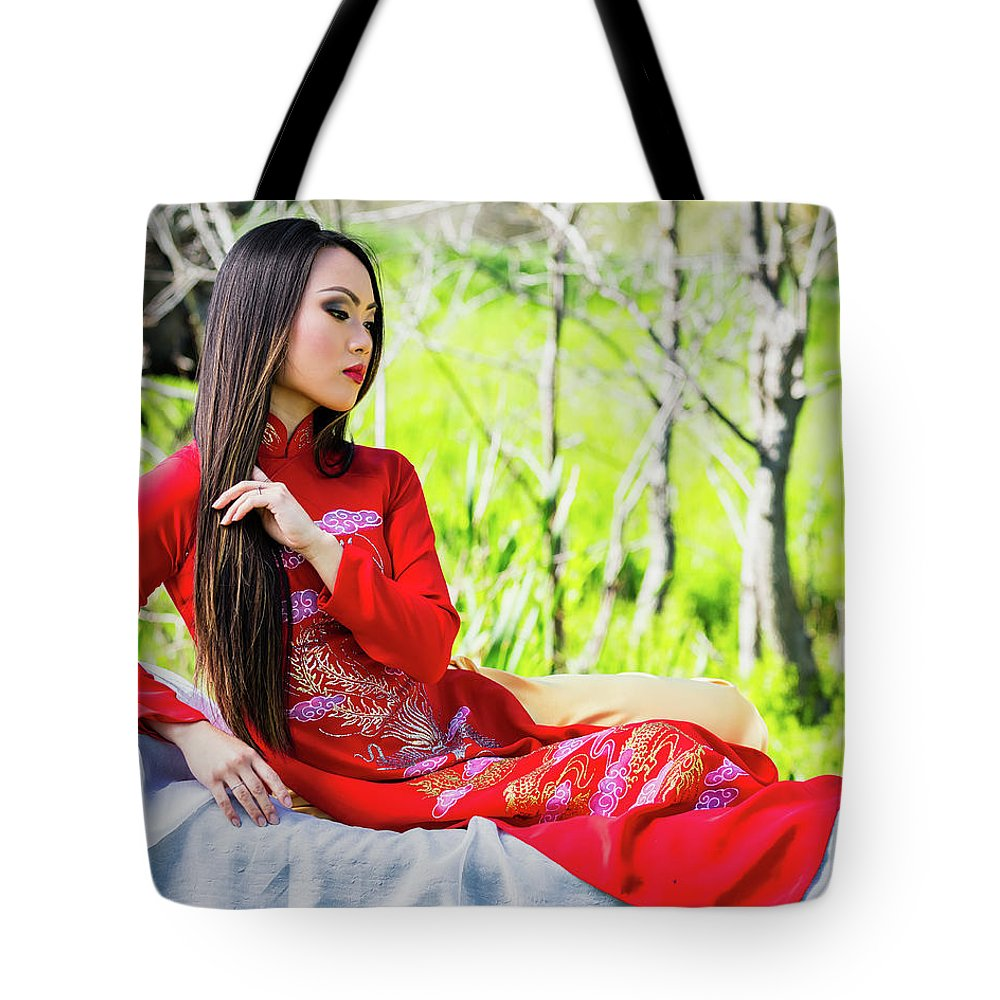 Gorgeous Tote Bag featuring the photograph Tracie Dang 3 by Jim Thompson