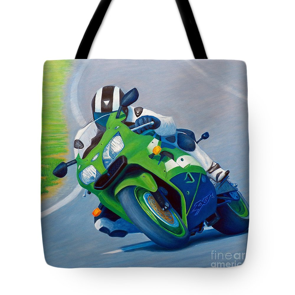 Motorcycle Tote Bag featuring the painting Track Day - Kawasaki Zx9 by Brian Commerford