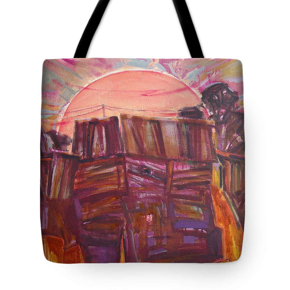 Oil Tote Bag featuring the painting Tracks by Sergey Ignatenko