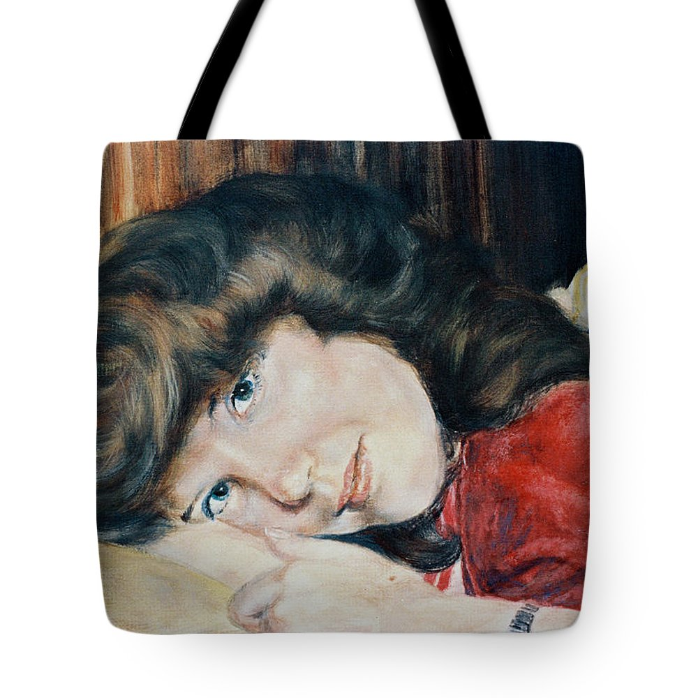 Girl Tote Bag featuring the painting Tracy by Bryan Bustard