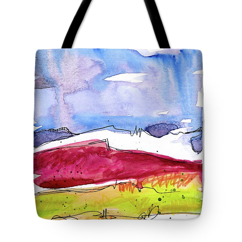 Mountains Tote Bag featuring the painting Trader's Bluff by Tonya Doughty