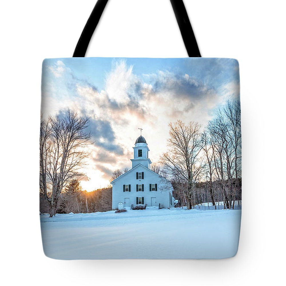 New Hampshire Tote Bag featuring the photograph Traditional New England White Church Etna New Hampshire by Edward Fielding