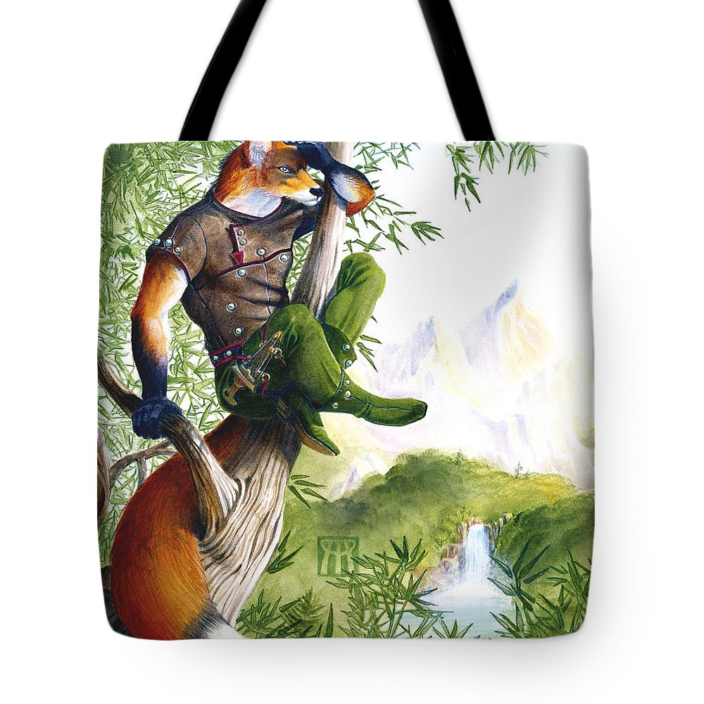 Fantasy Tote Bag featuring the painting Trail Blazing Fox by Melissa A Benson