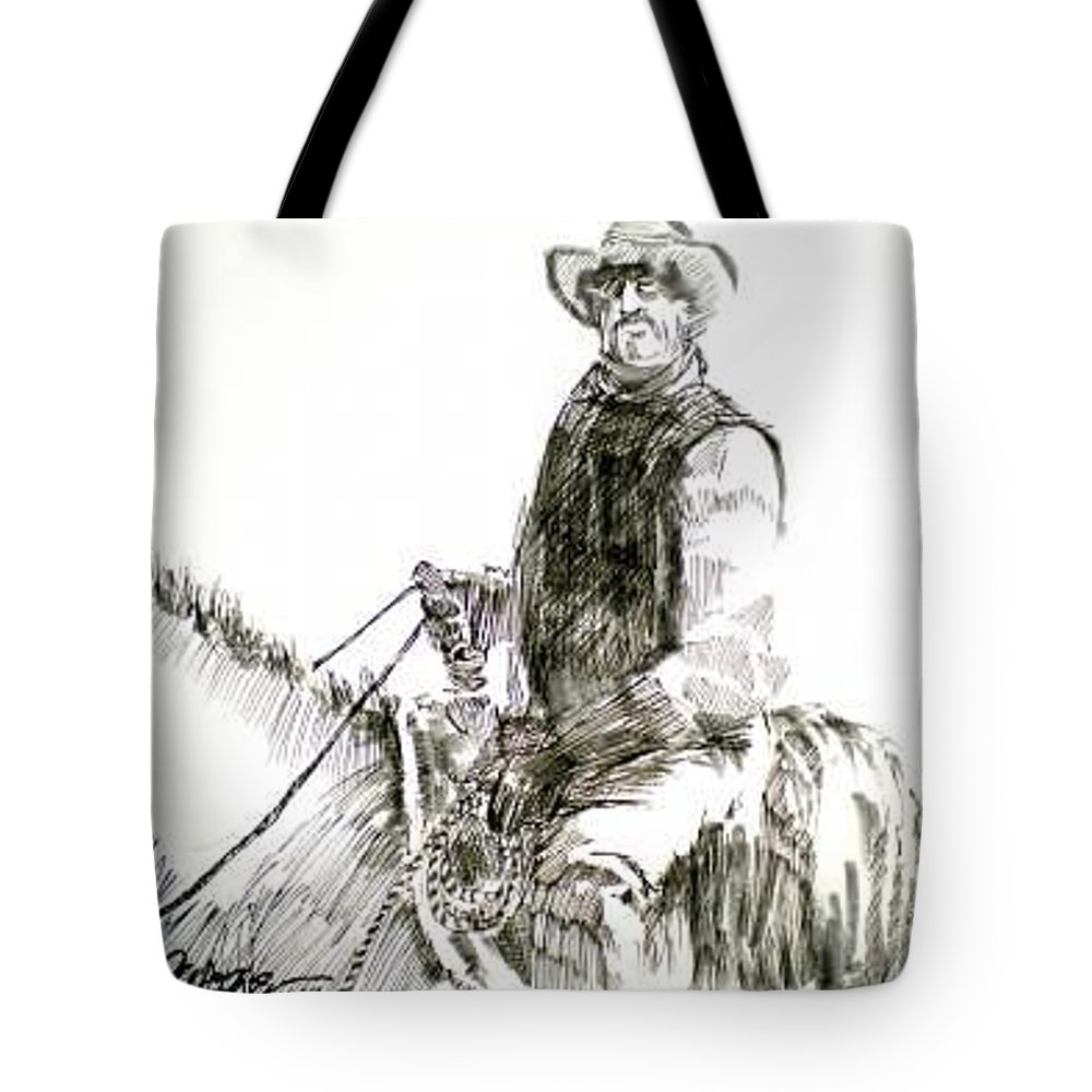 Trail Boss Tote Bag featuring the drawing Trail Boss by Seth Weaver