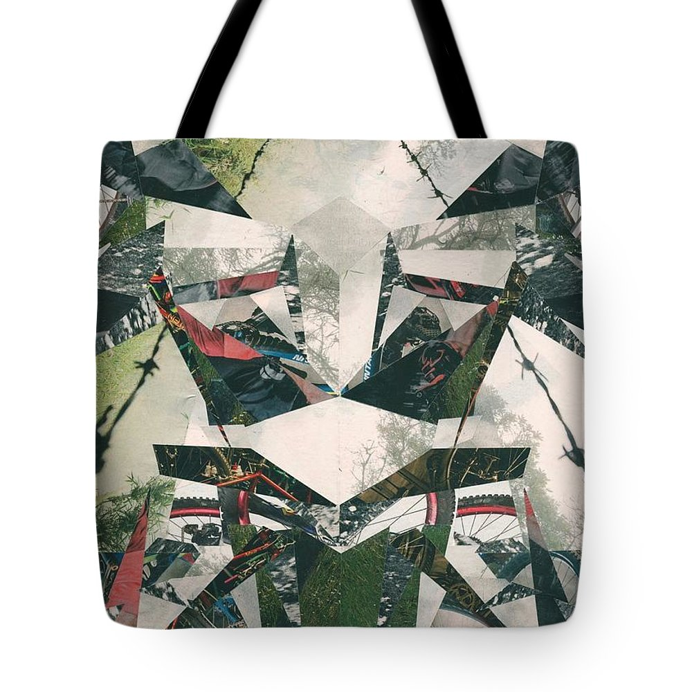 Bike Tote Bag featuring the mixed media Trail by Daniel Watkins
