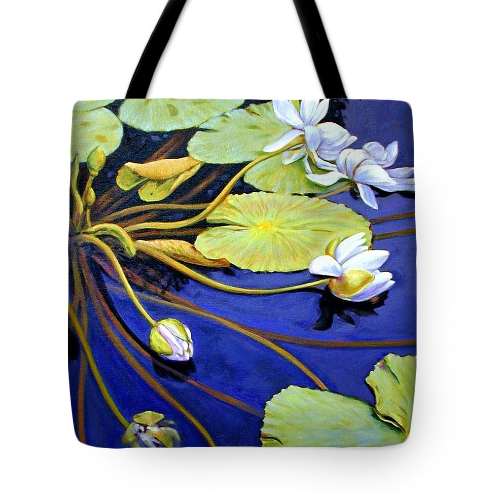 Water Lilies Tote Bag featuring the painting Trailing Beauty by John Lautermilch