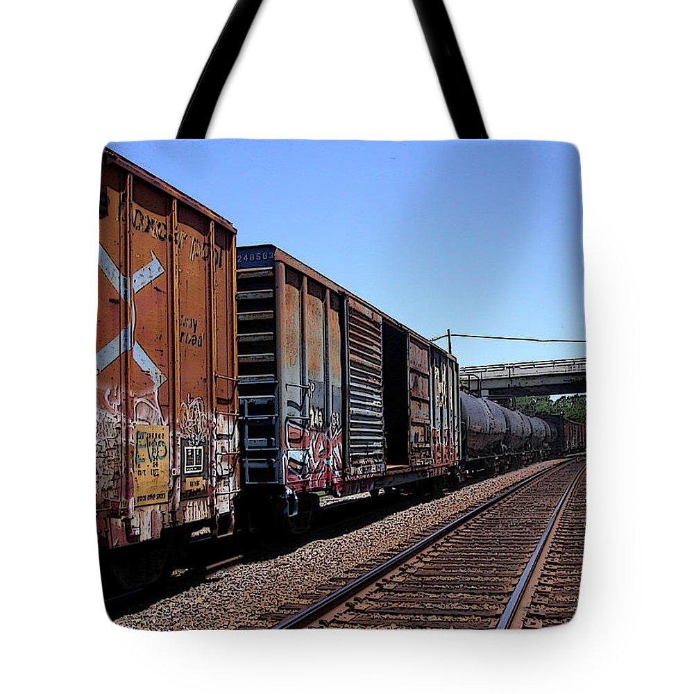 Train Tote Bag featuring the photograph Train Colors 1 by Anne Cameron Cutri