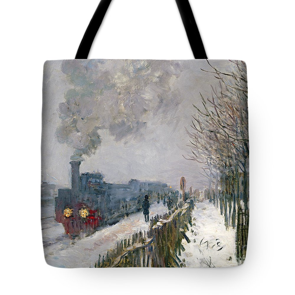 Train Tote Bag featuring the painting Train In The Snow Or The Locomotive by Claude Monet