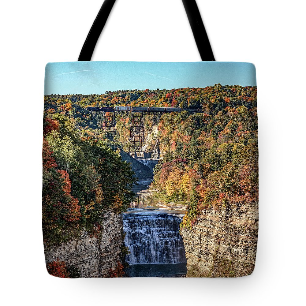 Train Tote Bag featuring the photograph Train Over Letchworth by Rod Best
