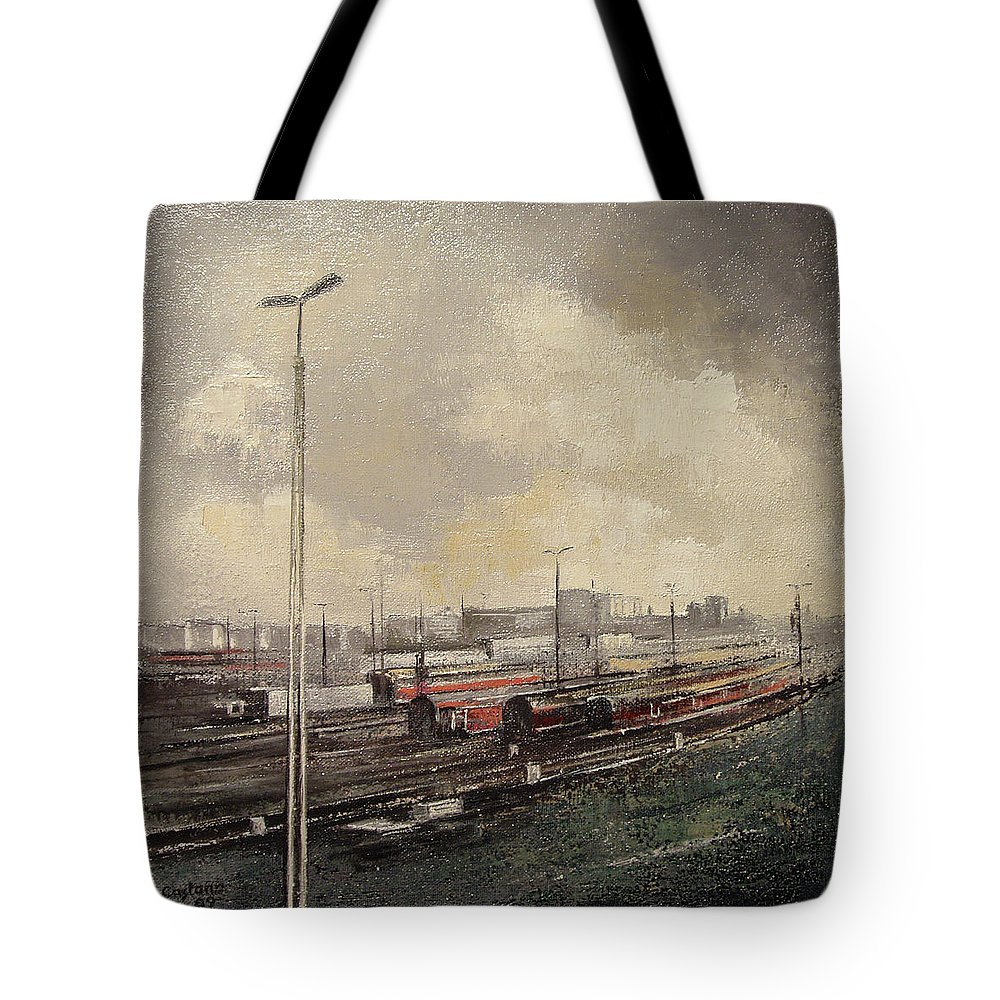 Train Tote Bag featuring the painting Train station by Tomas Castano