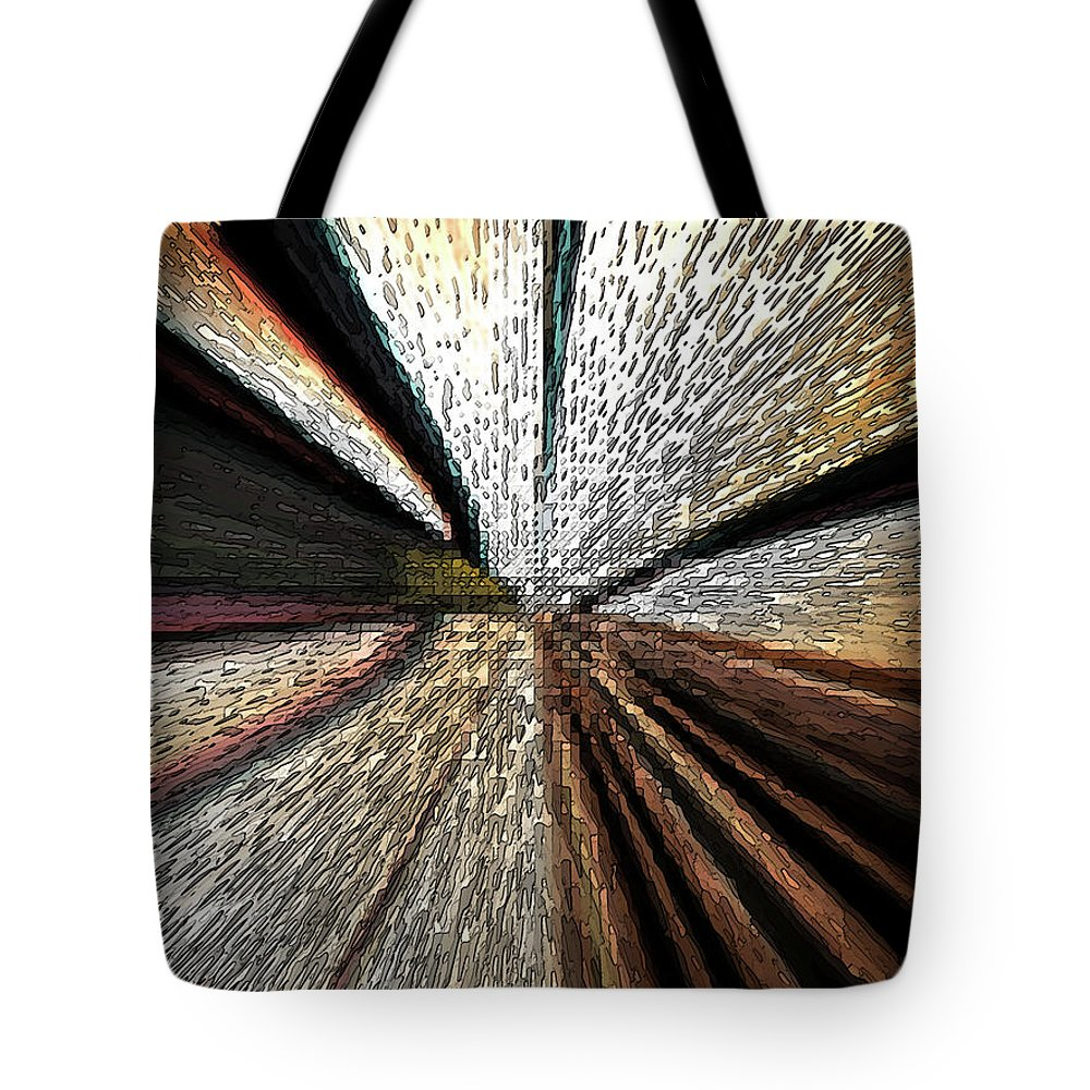 Abstract Tote Bag featuring the digital art Train Tracks by Lenore Senior