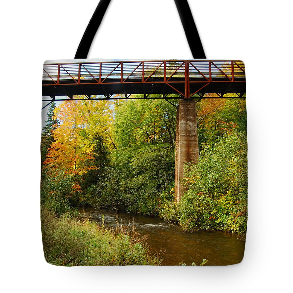 Train Tote Bag featuring the photograph Train Trestle by Michael Peychich