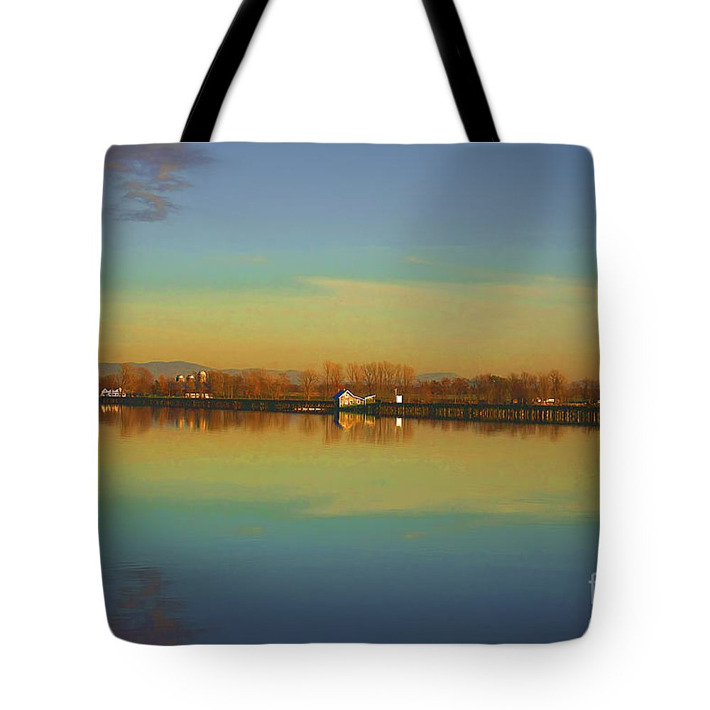 Lake Champlain Tote Bag featuring the photograph Train Trestle On Lake Champlain by Deborah Benoit