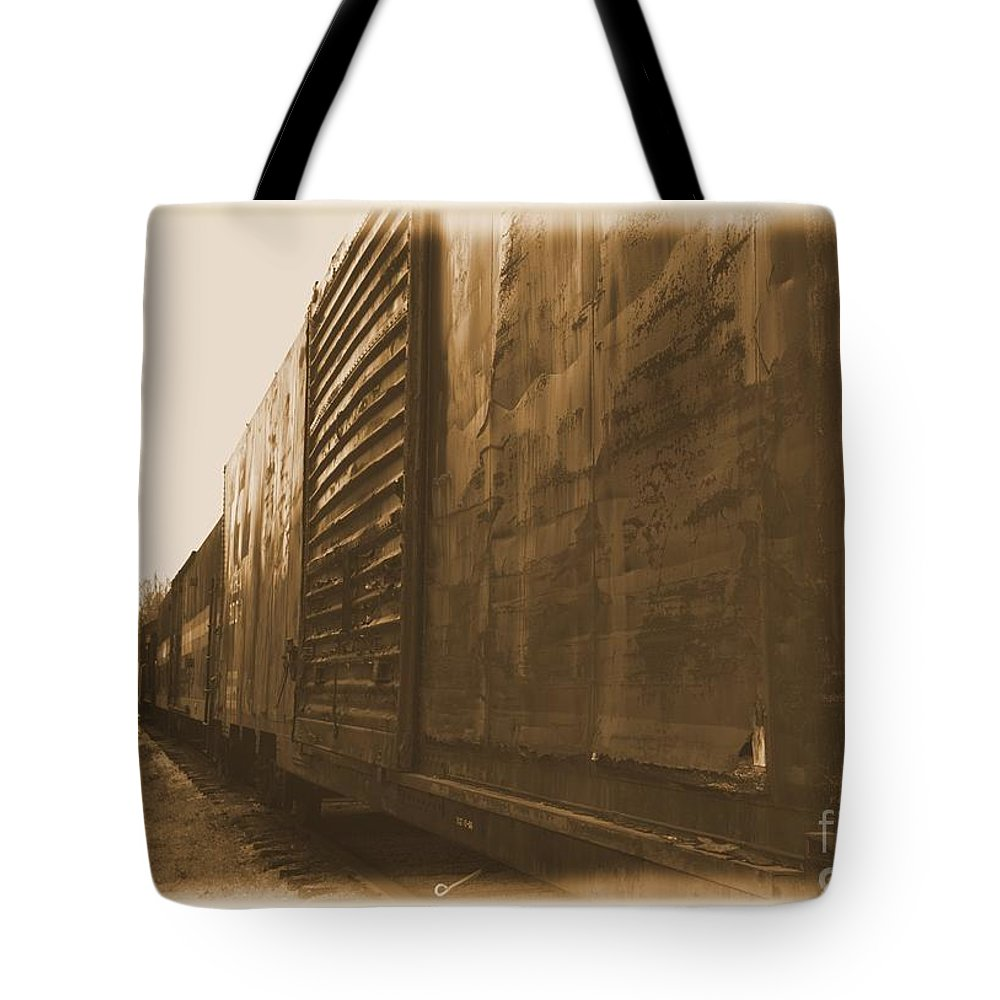 Train Tote Bag featuring the photograph Trains 12 Albumen Border by Jay Mann