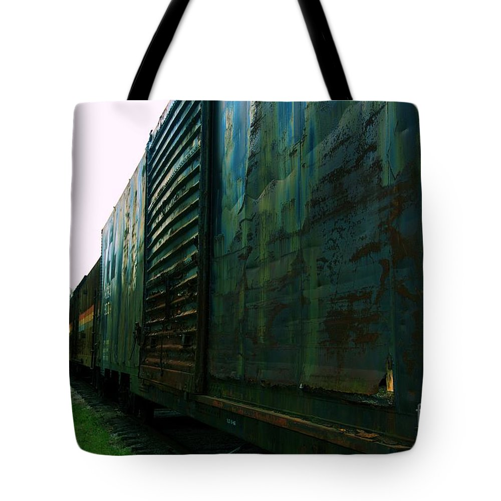 Train Tote Bag featuring the photograph Trains 12 Cross Process by Jay Mann