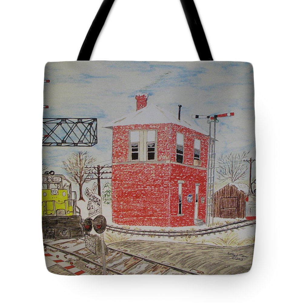 Train Tote Bag featuring the painting Trains In Motion by Kathy Marrs Chandler