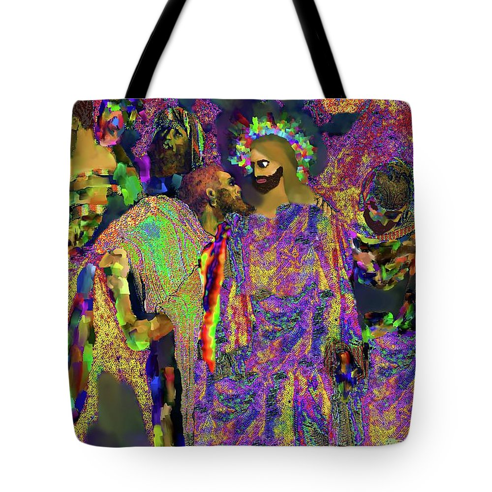 Jesus Tote Bag featuring the digital art Traitor In The Midst by Charles Papaccio