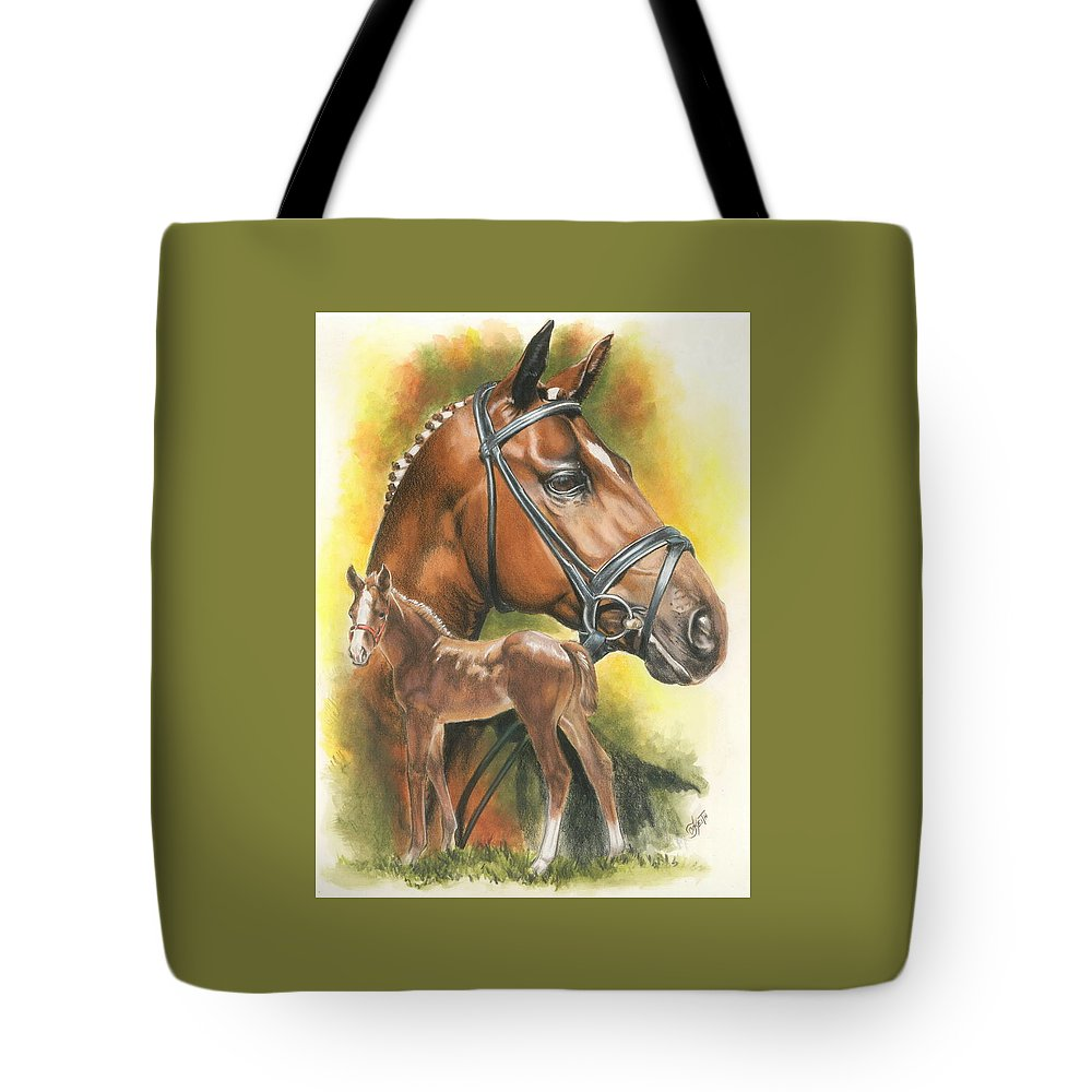 Jumper Hunter Tote Bag featuring the mixed media Trakehner by Barbara Keith
