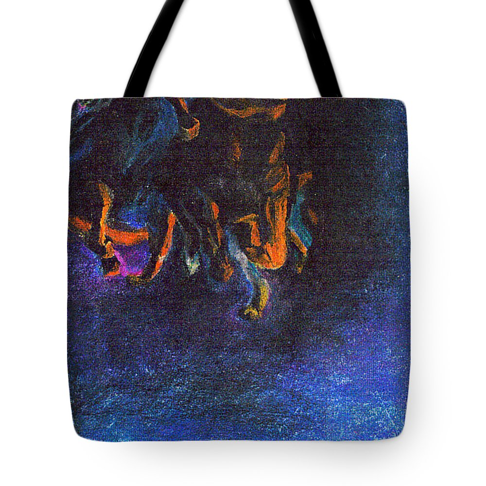 Horse Tote Bag featuring the pastel Trampled by Vicki Lynn Sodora