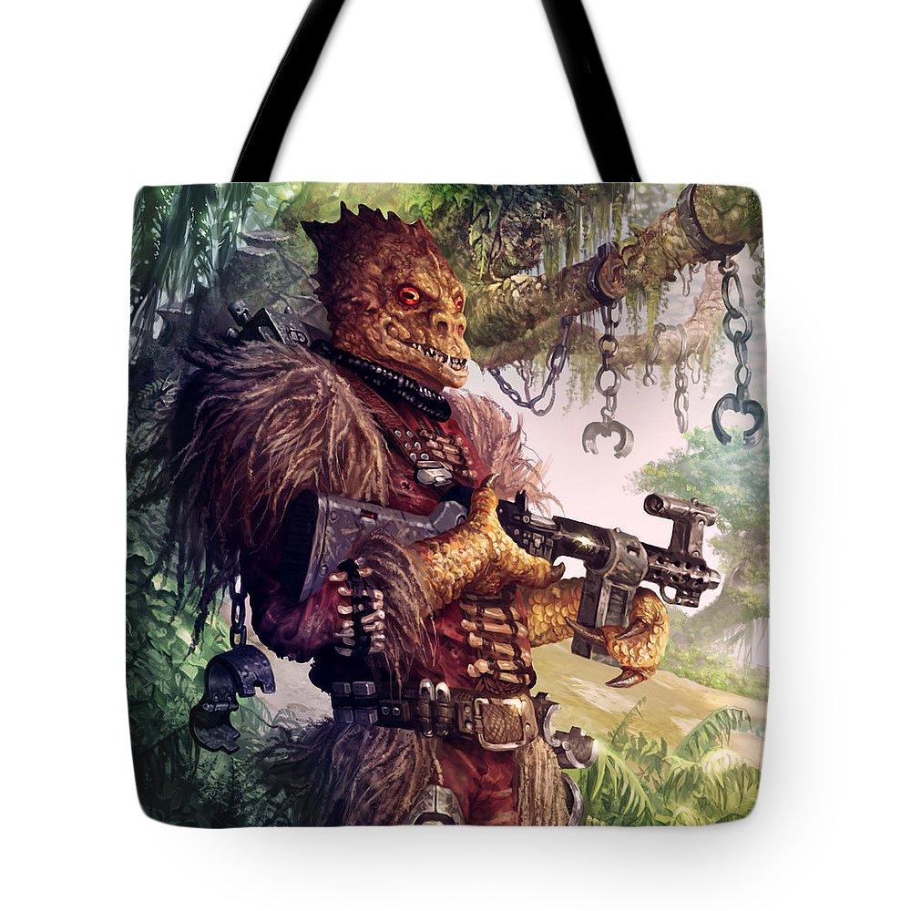 Star Wars Tote Bag featuring the digital art Trandoshan Slaver by Ryan  Barger 5a986ec667bcd