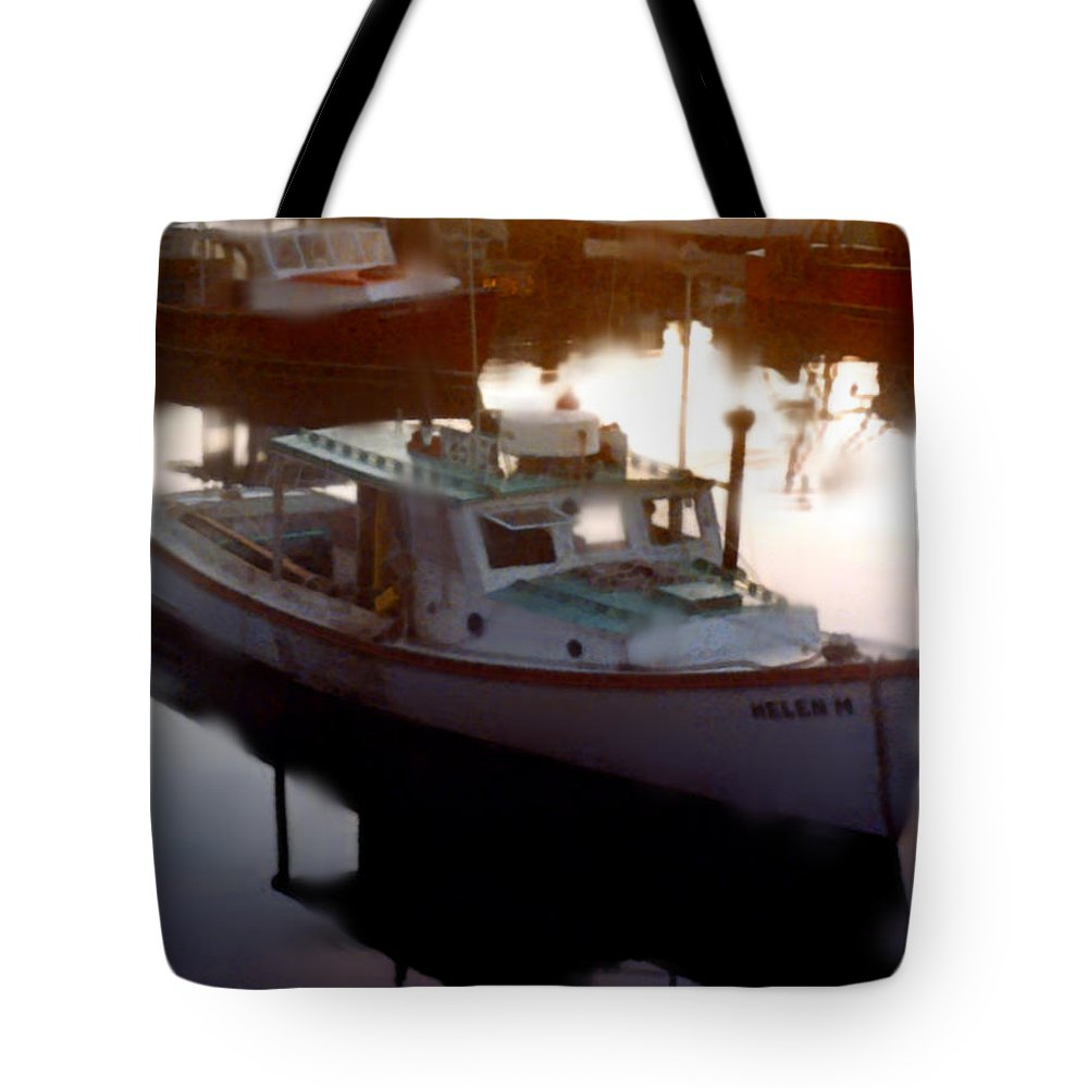 Boat Tote Bag featuring the painting Tranquil Harbor by Paul Sachtleben