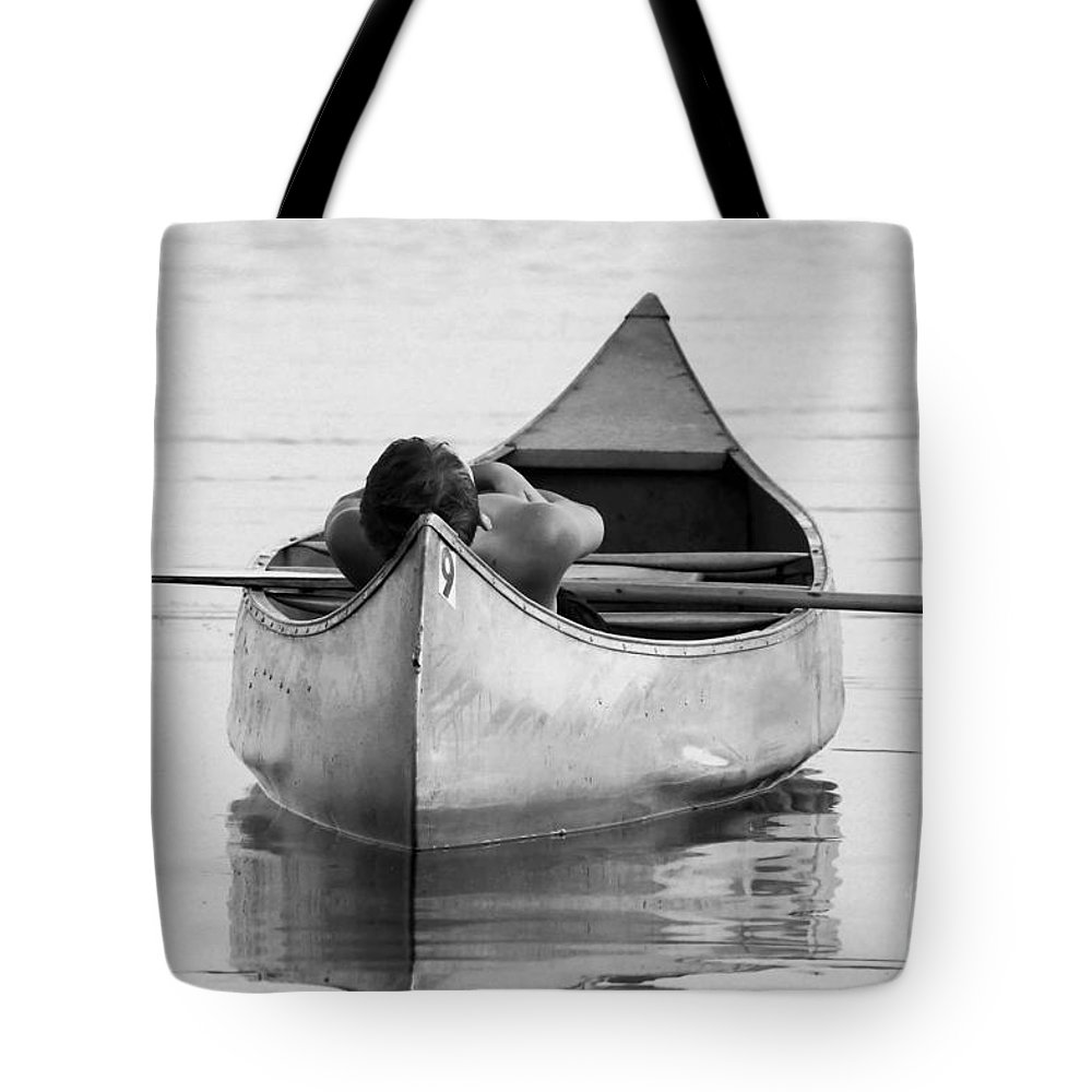 Canoe Art Tote Bag featuring the photograph Tranquil On Chautaqua Lake by Jessica Group