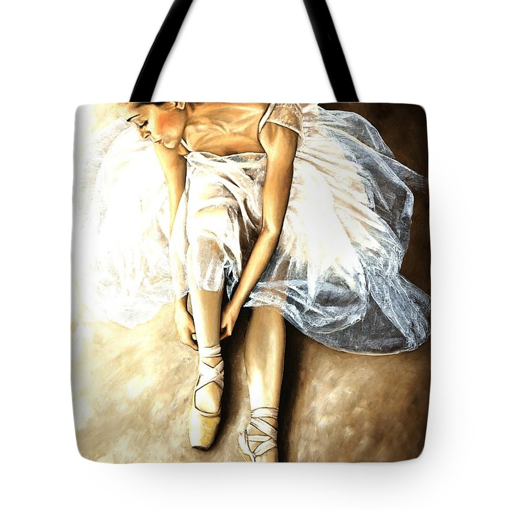 Ballet Tote Bag featuring the painting Tranquil Preparation by Richard Young