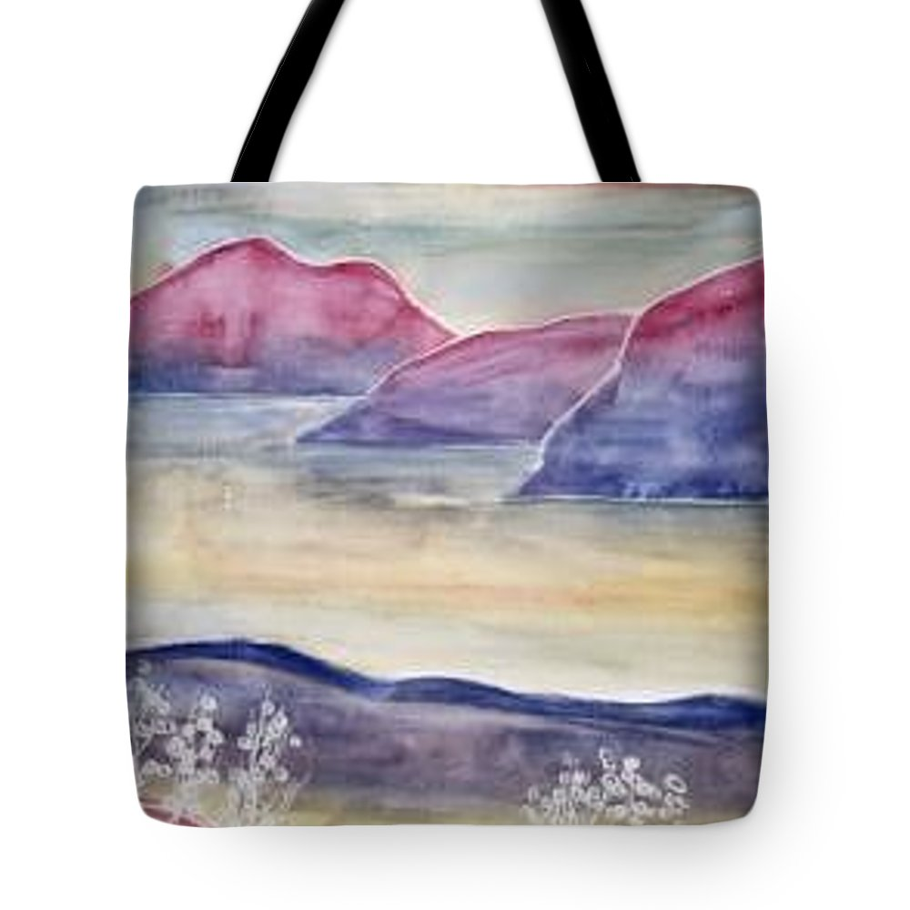 Watercolor Tote Bag featuring the painting Tranquility 2 Mountain Modern Surreal Painting Print by Derek Mccrea