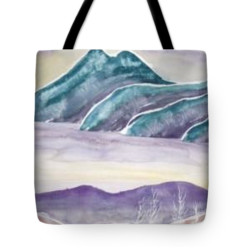 Watercolor Tote Bag featuring the painting TRANQUILITY landscape mountain surreal modern fine art print by Derek Mccrea