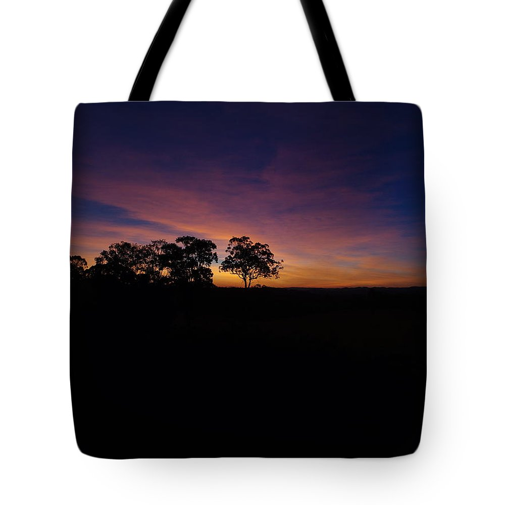 Sunset Queensland Australia Farm Life Drone 250feet Tote Bag featuring the pyrography Tranquility by Michael Hansen