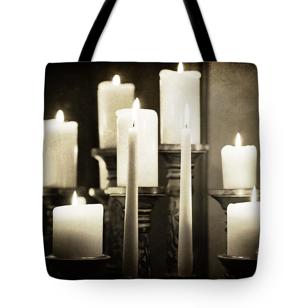 Atmospheric Tote Bag featuring the photograph Tranquility Of Candlelight by Jacqui Hall