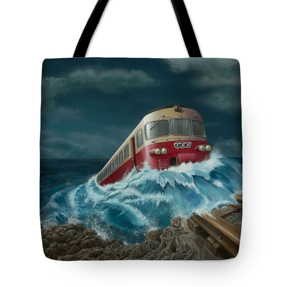 Surreal Tote Bag featuring the painting Trans Europe Express by Patricia Van Lubeck