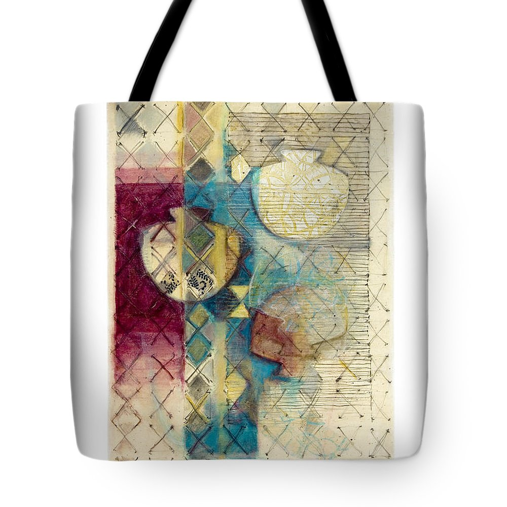 Mixed-media Tote Bag featuring the painting Trans Xs No 1 by Kerryn Madsen- Pietsch