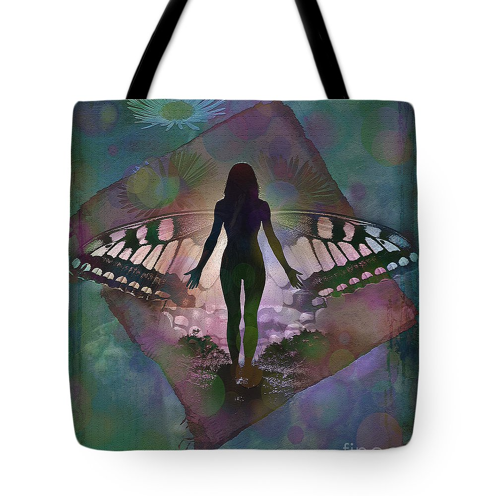 Fantasy Tote Bag featuring the digital art Transcend 2015 by Kathryn Strick