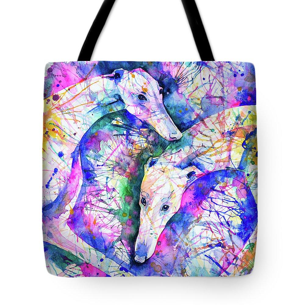 Greyhound Tote Bag featuring the painting Transcendent Greyhounds by Zaira Dzhaubaeva
