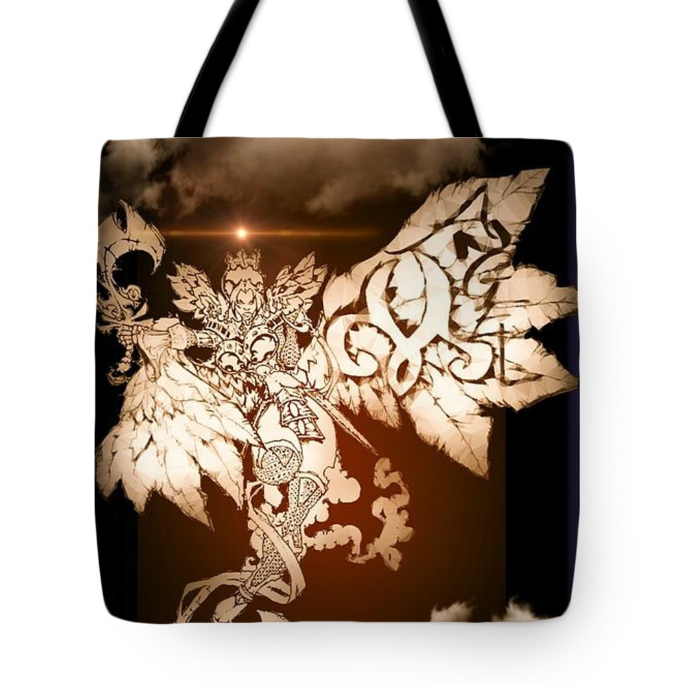 Fantasy Landscape Tote Bag featuring the drawing Transcending Angel by Louis Williams